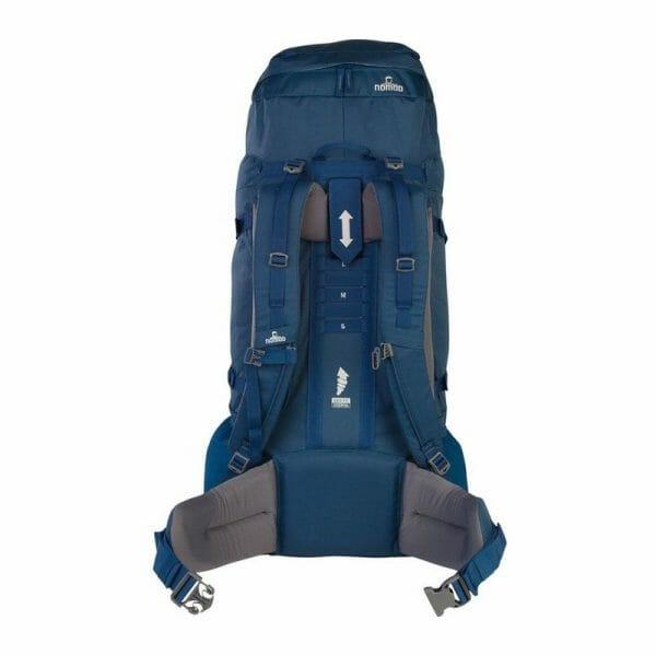 Backpackkit nomad batura 70 liter blauw achterkant
