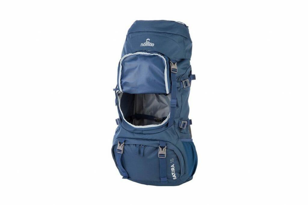 Backpackkit nomad batura 70 liter blauw open