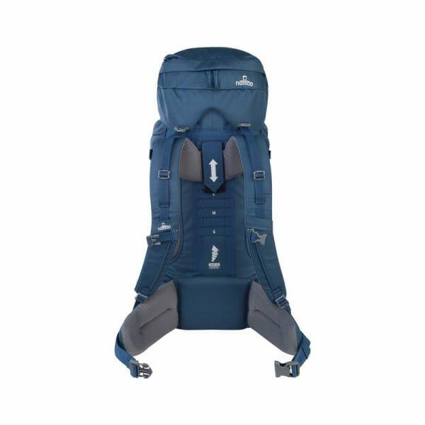 Backpackkit nomad batura backpack 55 Liter blauw achterkant